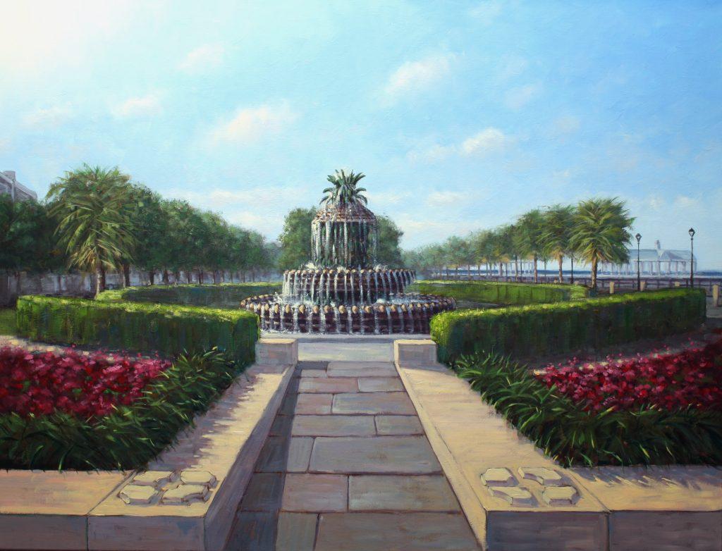 Pineapple Fountain Charleston Kunstschilder Artist Painter Simon balyon 80x100cm