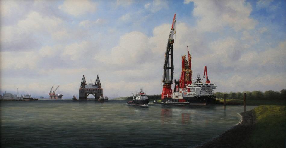 De vloot van Heerema 100x180 Kunstschilder Simon Balyon