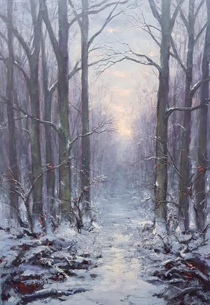 winter bos gezicht kunstschilder Simon Balyon