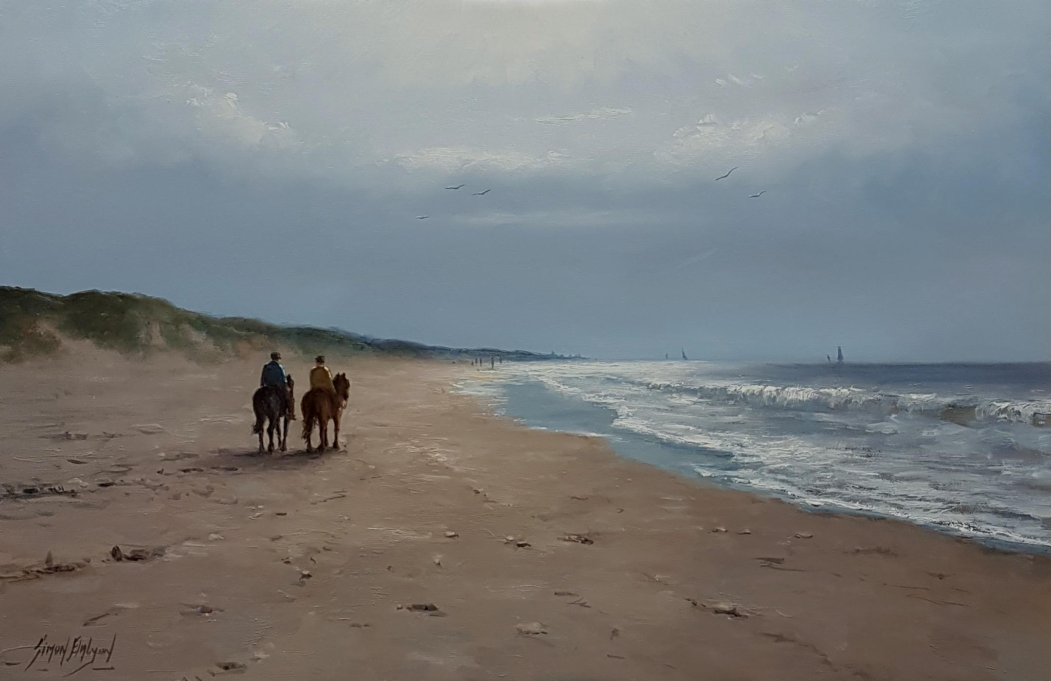 Paardrijden op het strand 40x60cm