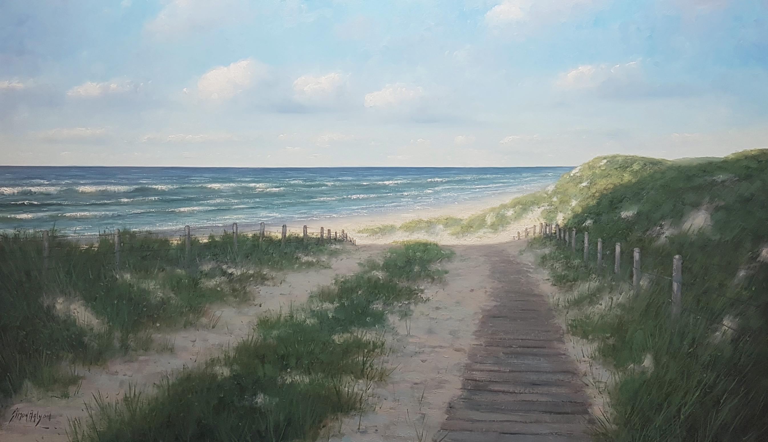 Strand en duinen bij Wassenaar Meijendel 100 x 170 cm Kunstschilder Simon Balyon