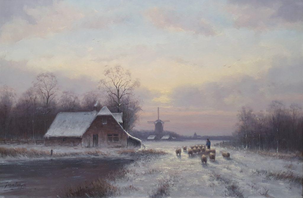 Winterlandschap schilderij Simon Balyon 60x90 cm