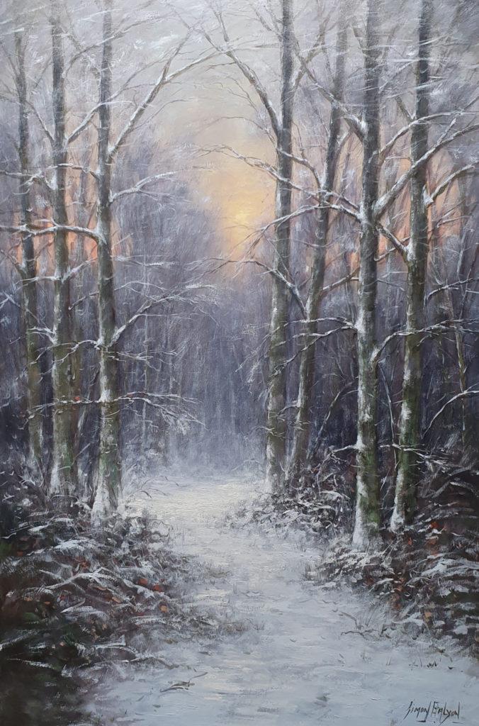 Winters bosgezicht Balyon 61x91 cm