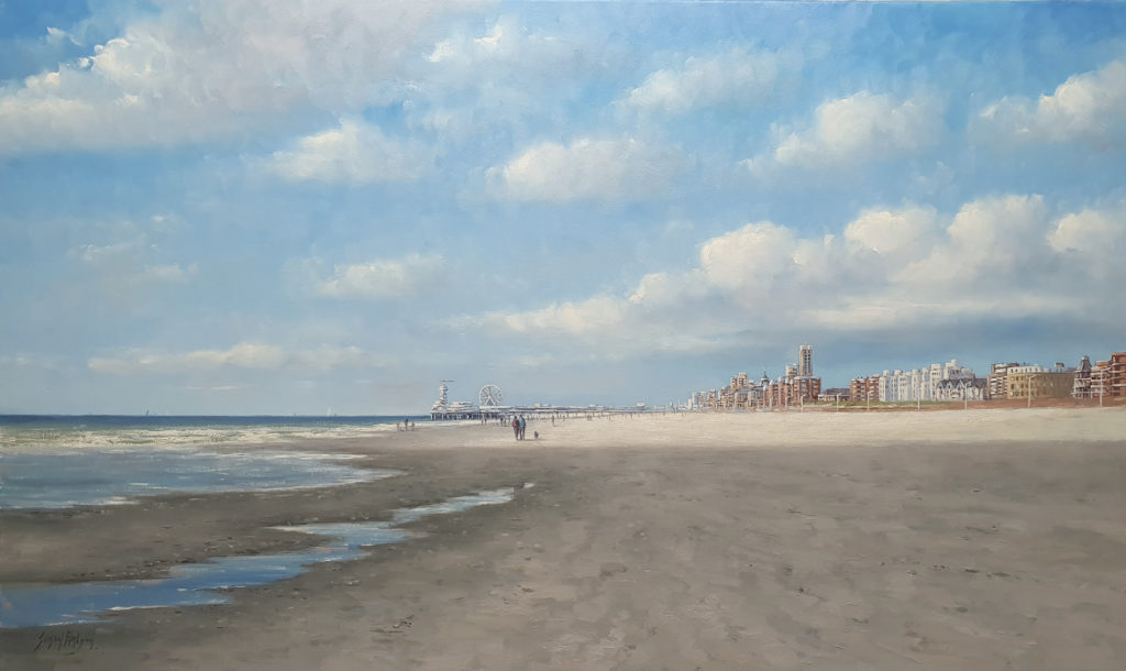 Zonlicht en schaduw op het strand van Scheveningen 90x150cm