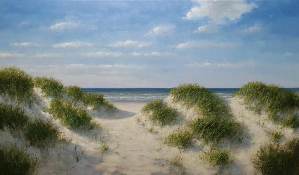 zee strand duinen kust schilderij simon balyon 100x170 cm