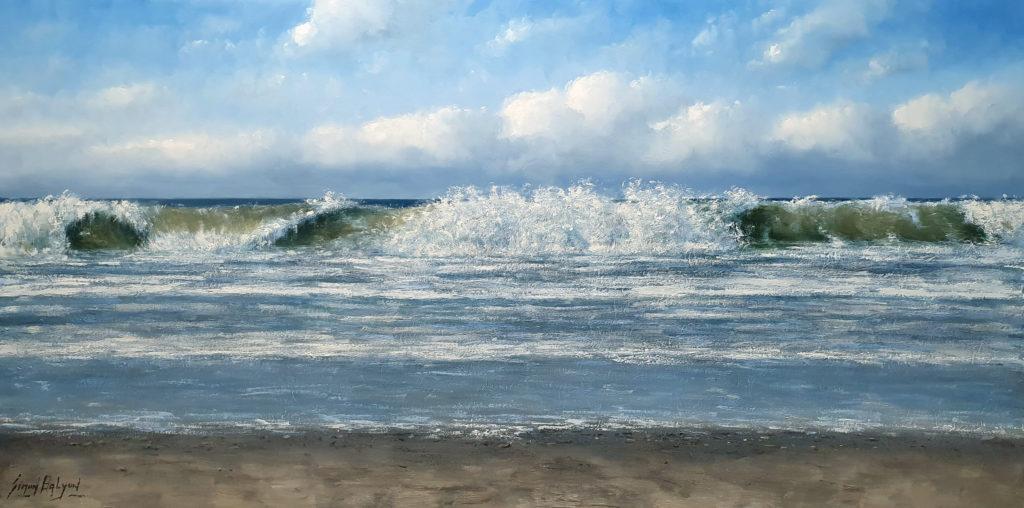 schilderij Golfslag 90x180 cm zee strand duinen kust simon balyon 90x180 cm