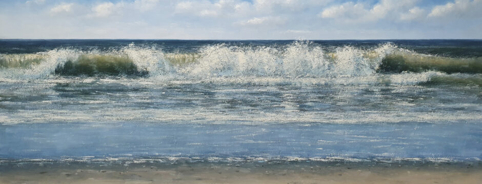 Golfslag(2) 90x180 cm simon balyon zee strand duinen schilderij kunstschilder