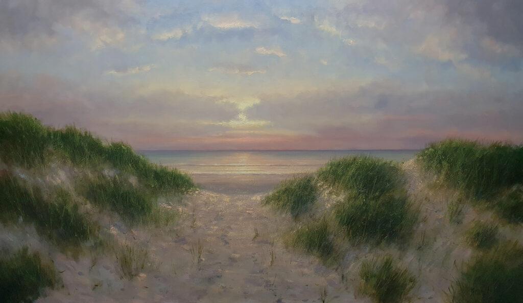 Scheveningen kust Zee Strand Duinen Avondstemming Schilderij 100x170 cm Kunstschilder