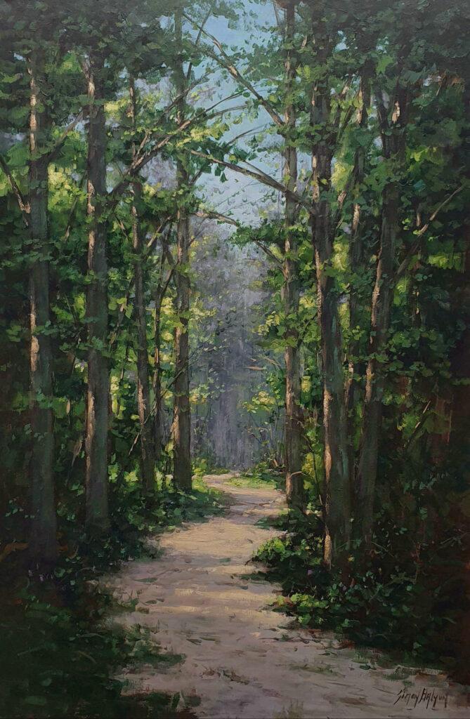 Lage Bergse bos kunstschilder Simon Balyon 60x90 cm