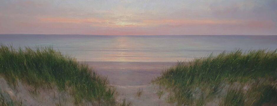 Scheveningen-Katwijk-Noordwijk-kust-zon-Zee-Strand-Duinen-Avondstemming-Schilderij-100x170-cm-Kunstschilder-Simon-Balyon-scaled.jpg