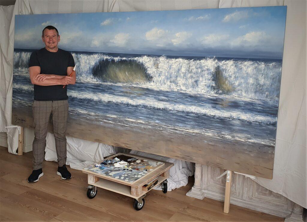 zon-zee-strand-golven-duinen-Sonne-Meer-Strand-Dunen-Malerei-Sun-Sea-Beach-Dunes-painting-Simon-Balyon-duinen-kust-Scheveningen-Katwijk-Noordwijk-Egmond-aan-Zee-schilderij