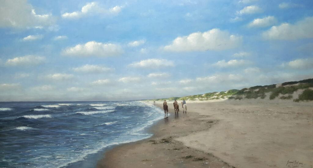 Paardrijden zon zee strand golven duinen Sonne-Meer-Strand-Dunen-Malerei-Sun-Sea-Beach-Dunes-painting-Simon-Balyon-duinen-kust-Scheveningen-Katwijk-Noordwijk-Egmond-aan-Zee-schilderij