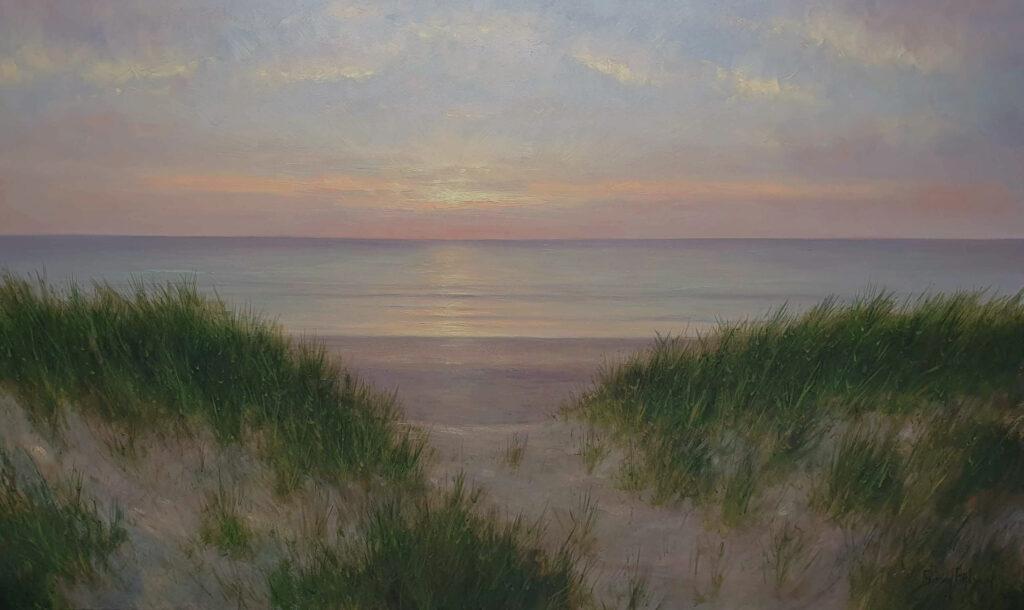 ()Scheveningen Katwijk Noordwijk kust zon Zee Strand Duinen Avondstemming Schilderij 100x170 cm Kunstschilder Simon Balyon