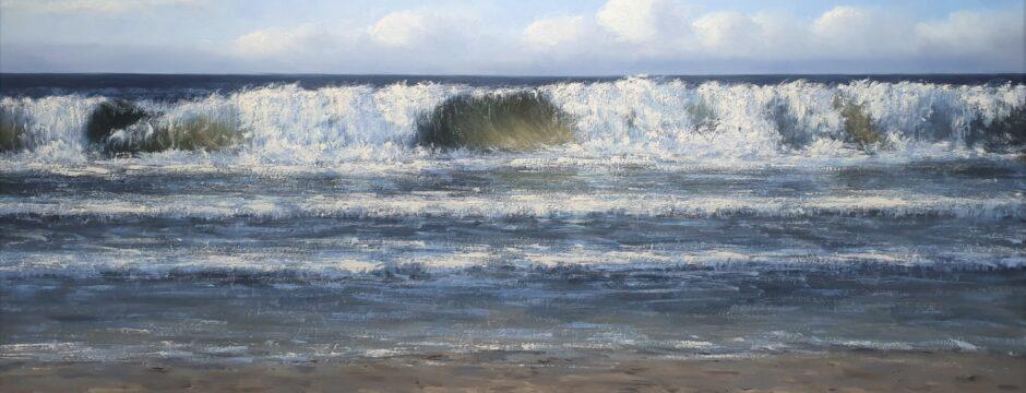 Zon Zee Strand Duinen Kust Zeeland Katwijk Scheveningen Noordwijk schilderij kunstschilder Simon Balyon De Zee 90x180cm