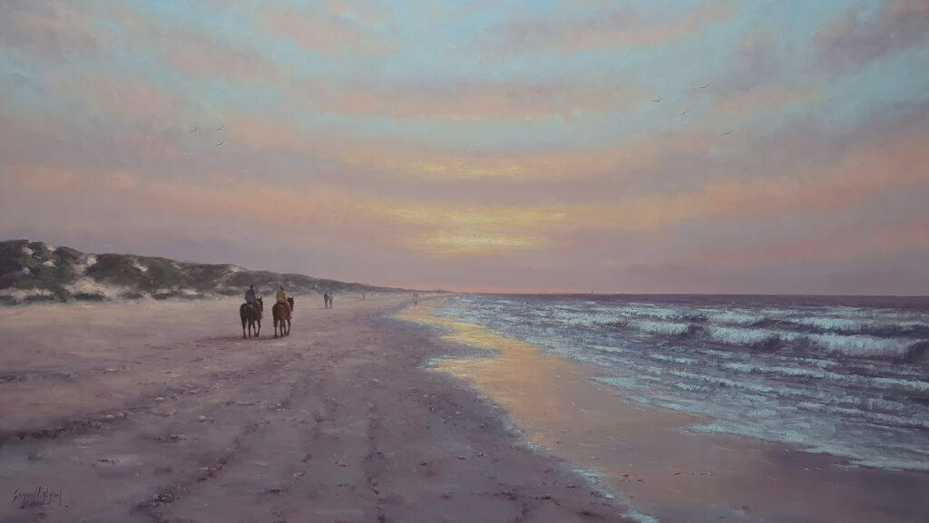Zon Zee Strand Golven Duinen Kust Katwijk Zeeland Noordwijk Scheveningen Schilderij Kunstschilder Avondstemming Simon Balyon