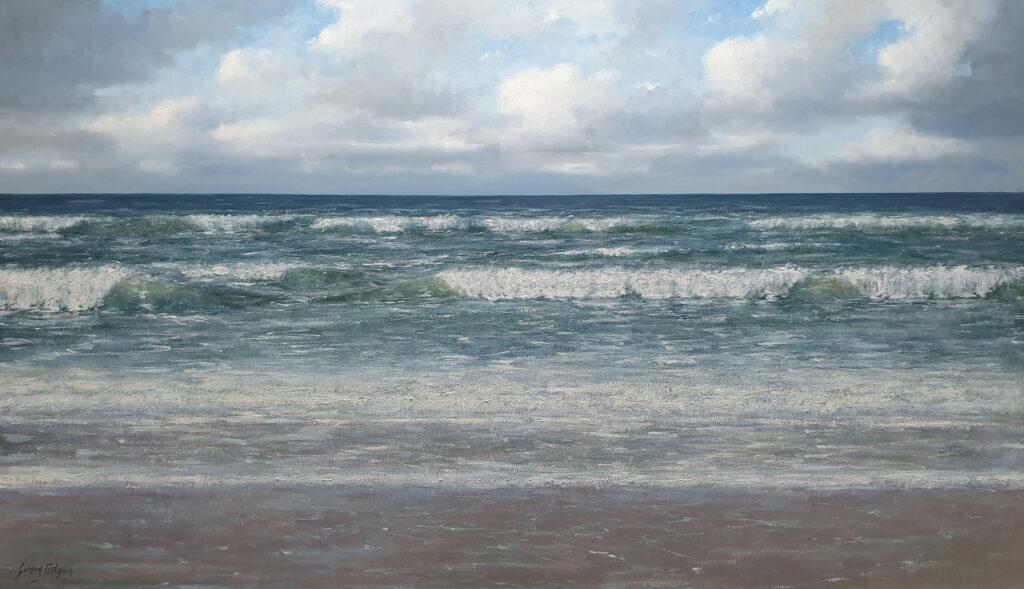 zon zee strand golven duinen Sonne-Meer-Strand-Dunen-Malerei-Sun-Sea-Beach-Dunes-painting-Simon-Balyon-duinen-kust-Scheveningen-Katwijk-Noordwijk-Egmon Zeegezicht schilderij Simon Balyon Noordzee